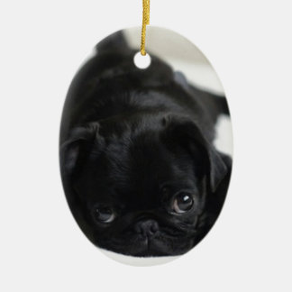 Black Pug Puppy Ceramic Ornament