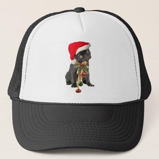 Black Pug Puppy Christmas portrait Trucker Hat