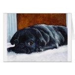 Black Pug Puppy Greeting Cards