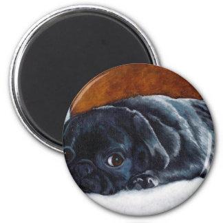 Black Pug Puppy 2 Inch Round Magnet