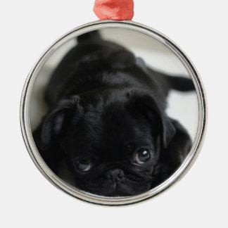 Black Pug Puppy Metal Ornament