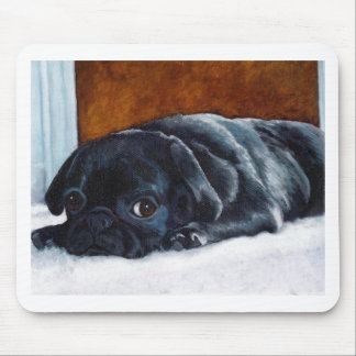 Black Pug Puppy Mouse Pad