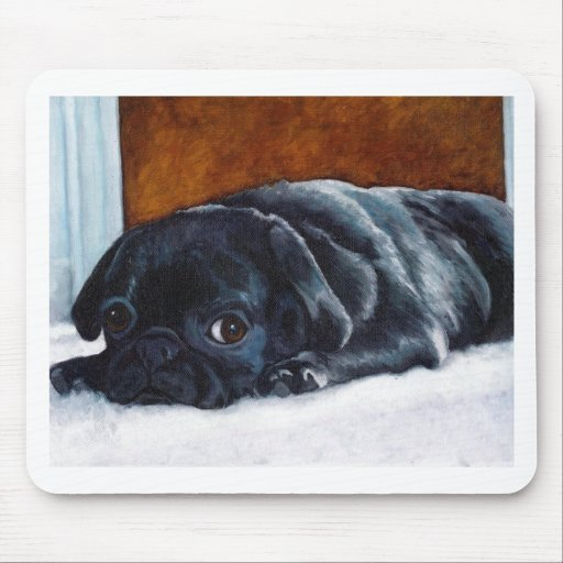 Black Pug Puppy Mousepads