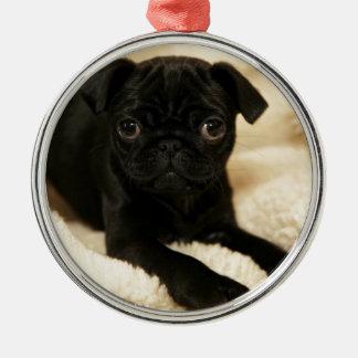 Black Pug Puppy Round Metal Christmas Ornament