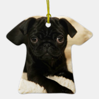 Black Pug Puppy Double-Sided T-Shirt Ceramic Christmas Ornament