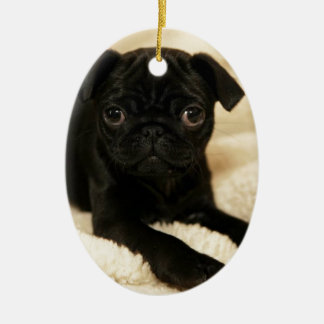 Black Pug Puppy Double-Sided Oval Ceramic Christmas Ornament