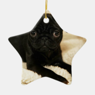 Black Pug Puppy Double-Sided Star Ceramic Christmas Ornament