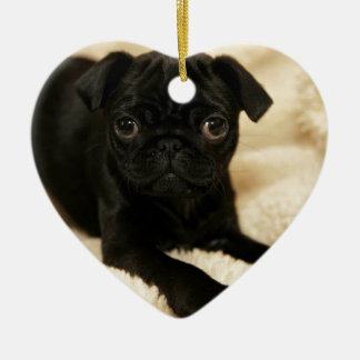 Black Pug Puppy Double-Sided Heart Ceramic Christmas Ornament