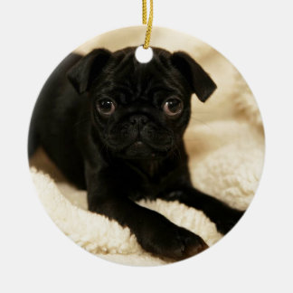 Black Pug Puppy Double-Sided Ceramic Round Christmas Ornament