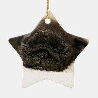 Black Pug Puppy Sleeping Double-Sided Star Ceramic Christmas Ornament