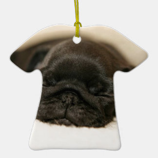 Black Pug Puppy Sleeping Double-Sided T-Shirt Ceramic Christmas Ornament