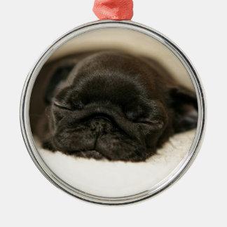 Black Pug Puppy Sleeping Round Metal Christmas Ornament