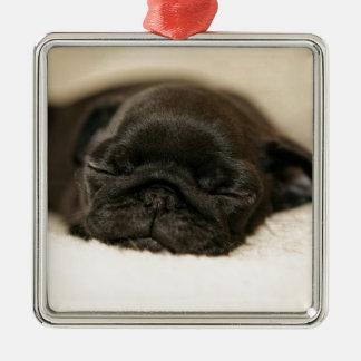 Black Pug Puppy Sleeping Square Metal Christmas Ornament