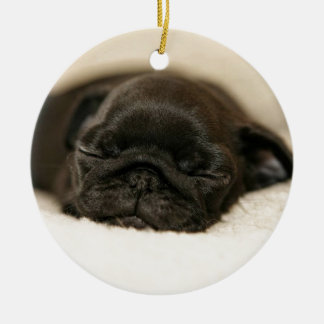 Black Pug Puppy Sleeping Double-Sided Ceramic Round Christmas Ornament