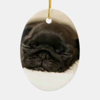 Black Pug Puppy Sleeping Double-Sided Oval Ceramic Christmas Ornament