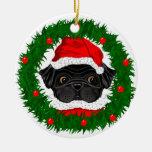 Black Pug Santa Double-Sided Ceramic Round Christmas Ornament