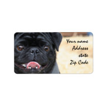 Black Pug Shipping Labels