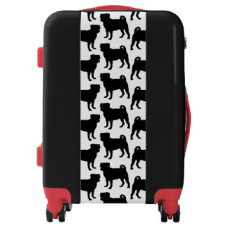 Black Pug Silhouette - Simple Vector Design Luggage