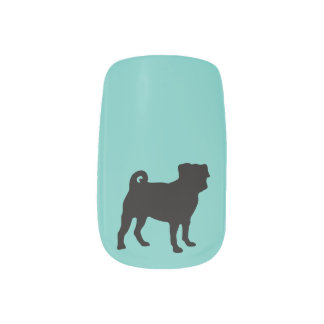 Black Pug Silhouette - Simple Vector Design Minx Nail Wraps