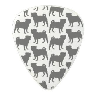 Black Pug Silhouette - Simple Vector Design Polycarbonate Guitar Pick