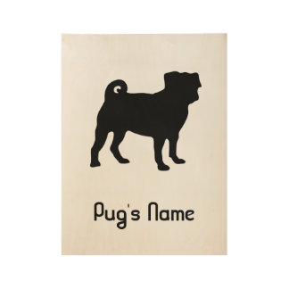Black Pug Silhouette - Simple Vector Design Wood Poster