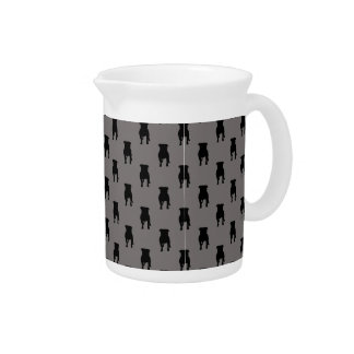 Black Pug Silhouettes on Grey Background Beverage Pitcher