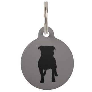 Black Pug Silhouettes on Grey Background Pet ID Tag
