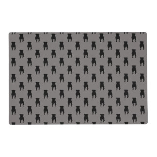 Black Pug Silhouettes on Grey Background Placemat