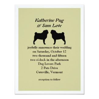 "Black Pug Silhouettes Wedding Announcement 4.25"" X 5.5"" Invitation Card"