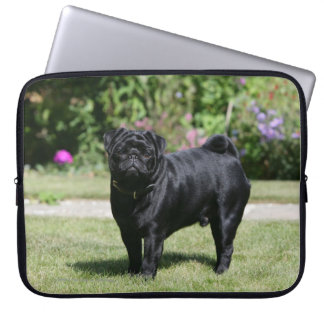 Black Pug Standing Looking at Camera Laptop Sleeve