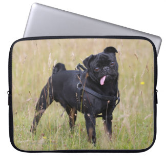 Black Pug Sticking Out Tounge Computer Sleeve