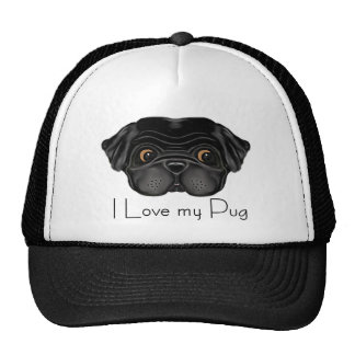Black Pug Trucker Hat