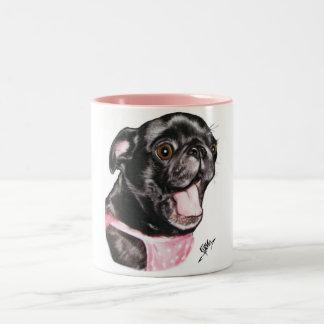 Black Pug Whassup?! Two-Tone Coffee Mug