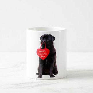 Black Pug Wishing Happy Valentine's Day Coffee Mug