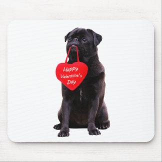 Black Pug Wishing Happy Valentine's Day Mouse Pad