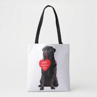 Black Pug Wishing Happy Valentine's Day Tote Bag