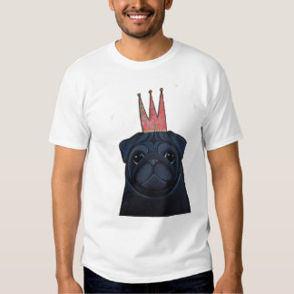 Black Pug with Crown T-Shirt