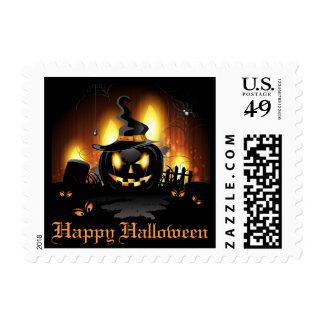 Black Pumpkin Halloween Postage