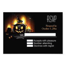 Black Pumpkin Halloween RSVP Card