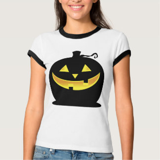 BLACK PUMPKIN WITH SMILING FACE T-Shirt