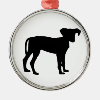 Black puppies metal ornament