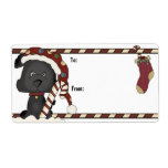 Black Puppy And Christmas Stocking Gift Label