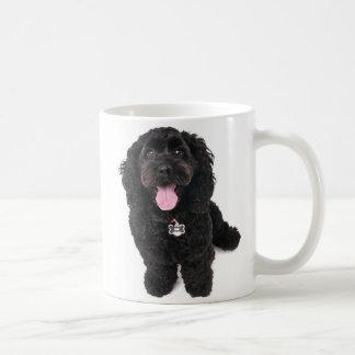 Black puppy looking up coffee mug