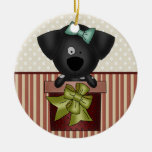 Black Puppy Double-Sided Ceramic Round Christmas Ornament