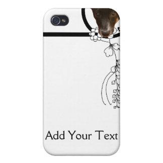 Black Puppy Peeking Through a Floral Frame iPhone 4 Cover