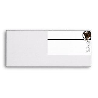 Black Puppy Peeking Through Floral Frame Envelope