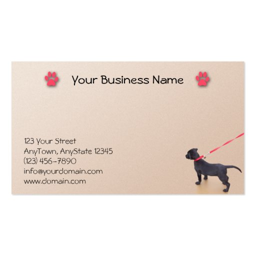 Black Puppy Prints on the Beach Business Card Templates