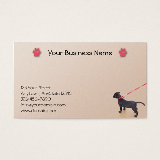 Black Puppy Prints on the Beach Business Card