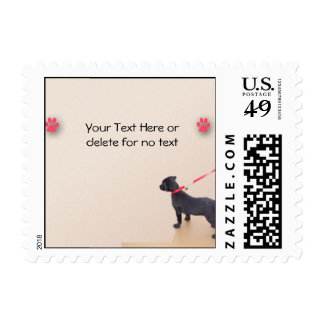 Black Puppy Prints on the Beach Postage Stamps