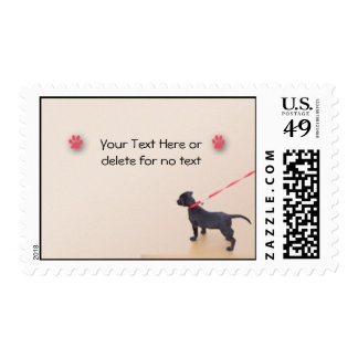 Black Puppy Prints on the Beach Stamp